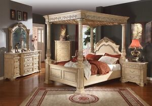Bedroom Sets King White Poster Canopy Bed Leather Marble Bedroom 6pc