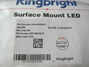 Kingbright-LED-SIDELED-20mA-2-1V-570nm-Mega-green-SMD-KA4040MGC-100-St-11-98