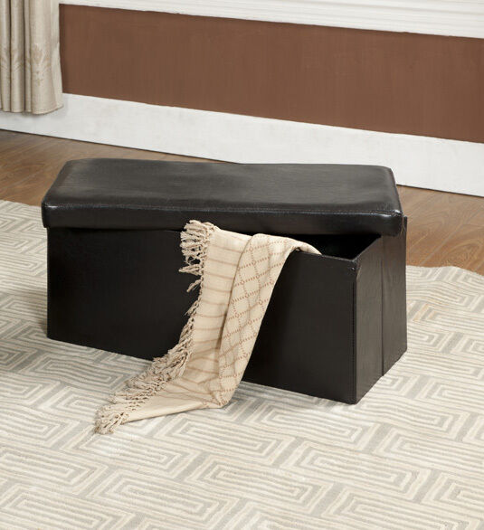 Kings Brand Brown Faux Leather Folding Storage Ottoman Bench Footstool New Ebay
