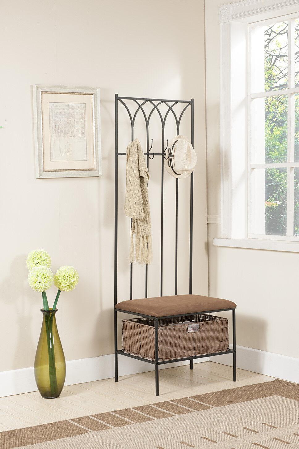 kings brand hallway storage bench with coat rack basket new. Black Bedroom Furniture Sets. Home Design Ideas