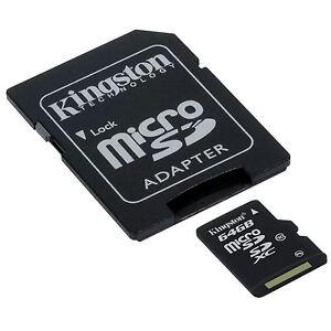 Kingston-64GB-Micro-SD-SDHC-Sdxc-Cl-10-SD-Adapter-Speicherkarte-Tf-Fuer-Handy-DD1