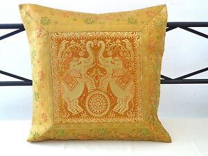 kissenbezug indisch brokat gelb gr n 40x40 kissen kissenh lle seide elefanten ebay. Black Bedroom Furniture Sets. Home Design Ideas