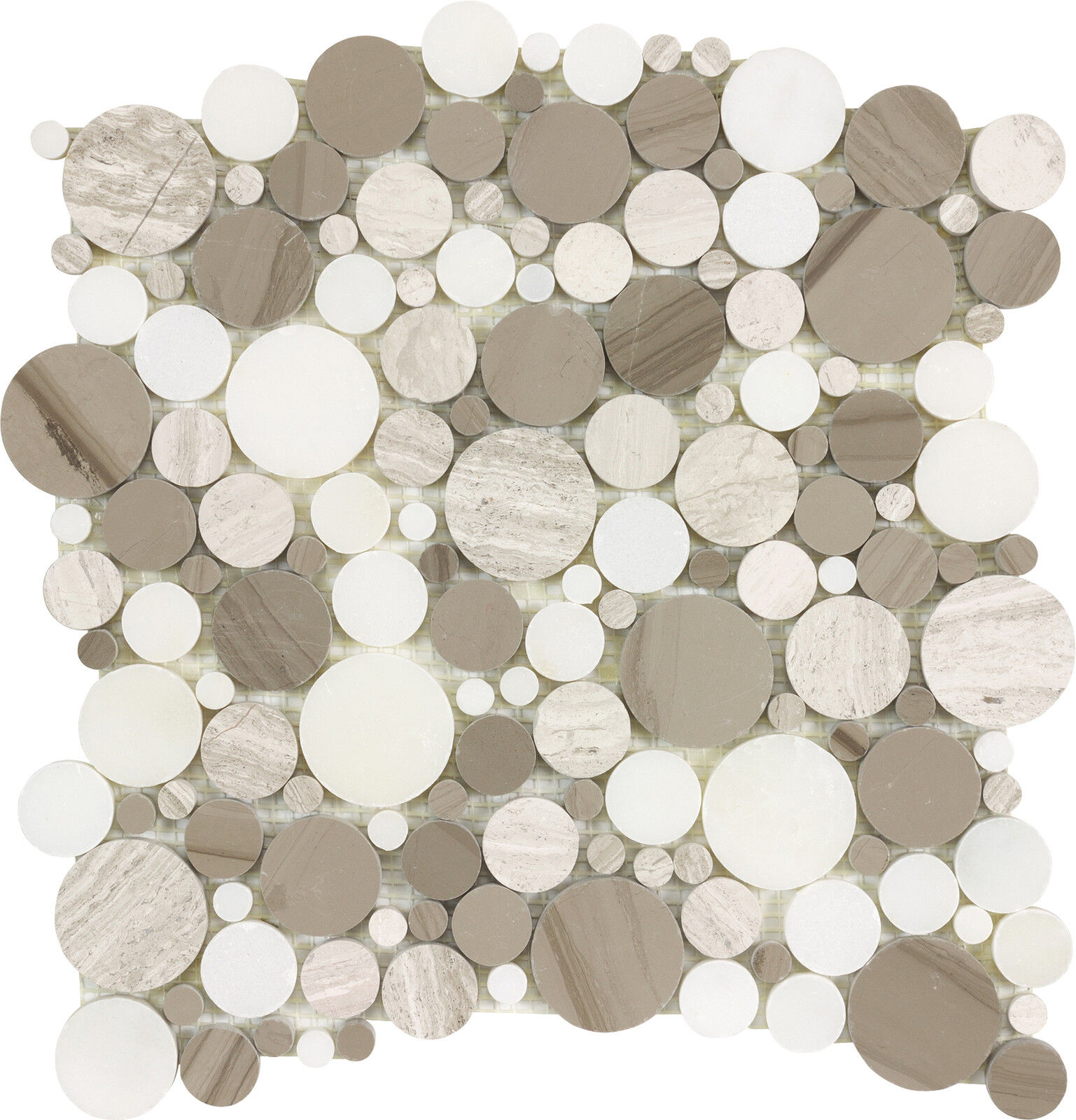Sample Stainless Steel Insert Marble Stone Beige Mosaic: Kitchen Bath Bubble White Thassos Wooden Beige Athens Gray