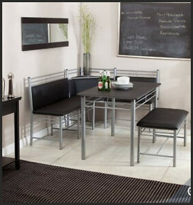 Dining Room on Kitchen Dining Room Corner Metal Breakfast Nook Blk Table Bench Chair