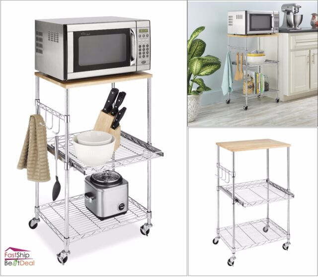 Kitchen Shelves Microwave: Kitchen Microwave Cart Storage Rolling Stand Shelf Utility