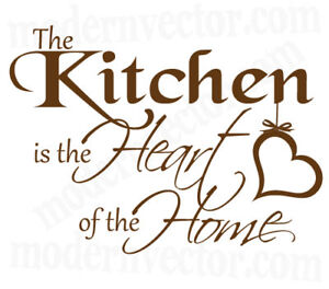 Kitchen Is The Heart of The Home Vinyl Wall Quote Decal | eBay