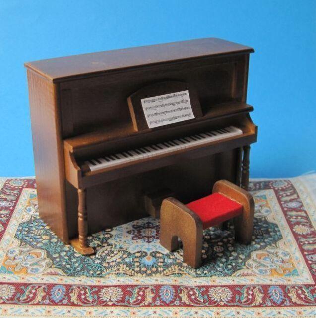 klavier piano braun puppenhaus m bel miniatur 1 12 ebay. Black Bedroom Furniture Sets. Home Design Ideas