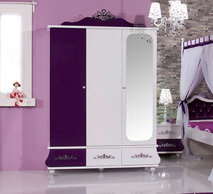 kleiderschrank 3 t rig kinderschrank anastasia lila m dchen kinderzimmer neu ebay. Black Bedroom Furniture Sets. Home Design Ideas