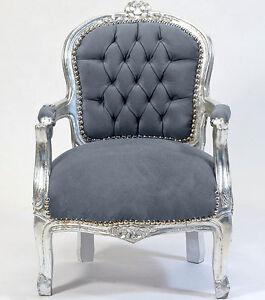 Kleiner barock chair silber grau barockstuhl f r kid s for Kleiner sessel grau