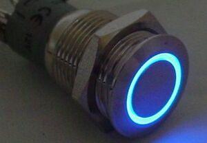 Klingeltaster-Drucktaster-Blau-beleuchtet-LED-Edelstahl-massiv-Schliesser-S87