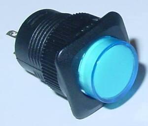 Klingeltaster-Drucktaster-blau-LED-beleuchtet-Schliesser-250V-1A-S94S