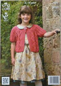 Knitting Pattern Childrens Short Sleeved Cropped Cardigan Aran KC