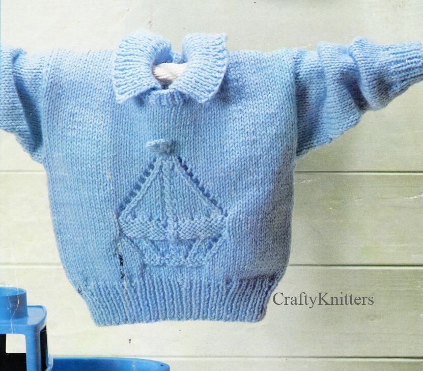 Knitting Pattern For A Lovely Boat Motif Collared Smart