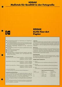 Kodak ELITE Fine-Art Papier - Kodak Datenblatt P-E1 - <span itemprop='availableAtOrFrom'>Apelern, Deutschland</span> - Kodak ELITE Fine-Art Papier - Kodak Datenblatt P-E1 - Apelern, Deutschland