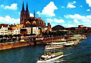 Koeln-am-Rhein-Rheinufer-und-Dom-Ansichtskarte-1977-gelaufen