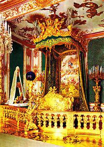 Koenigsschloss-Herrenchiemsee-Schlafzimmer-Ansichtskarte-1962-gelaufen