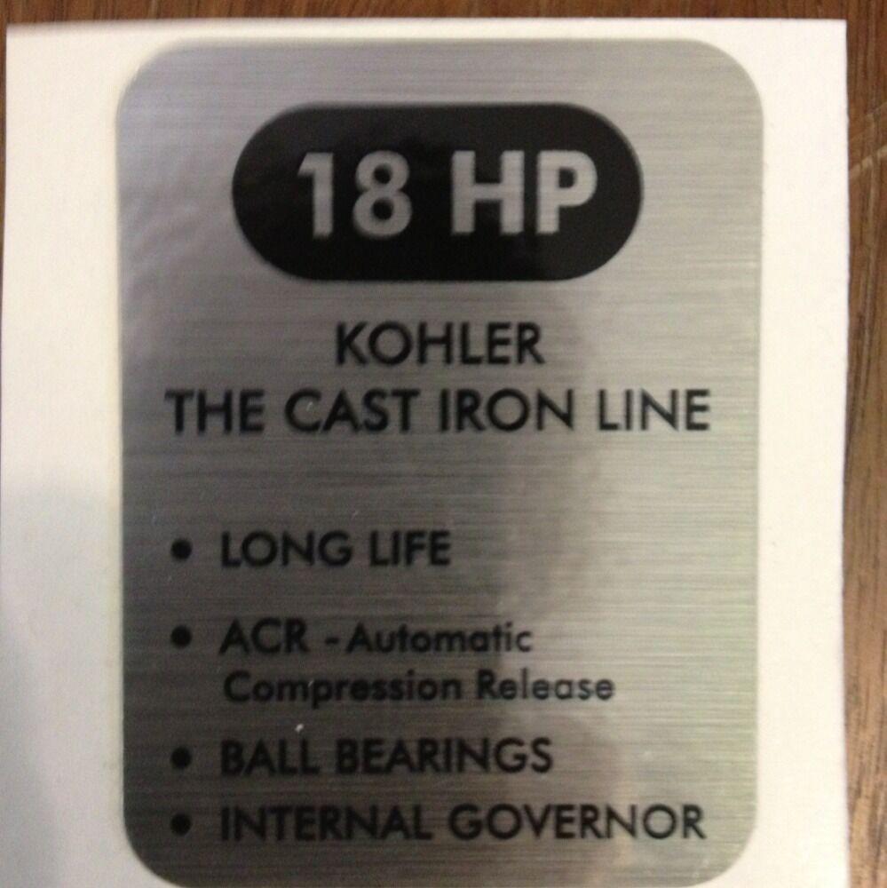 Kohler 18 HP John Deere Cub Cadet Denise Black and Silver