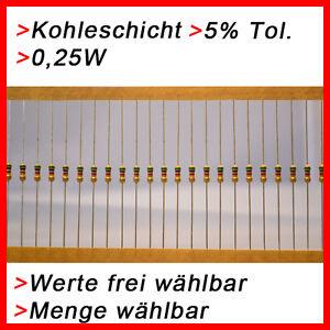 Kohleschicht-Widerstaende-0-25W-5-Werte-und-Menge-FREI-WAHLBAR-20-50-100