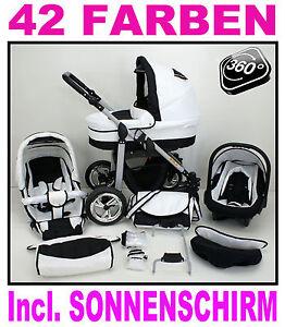 Kombi-Kinderwagen-SILVER-Babyschale-in-29-Farben