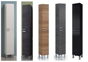 koncept tall narrow bathroom cupboard black gloss white