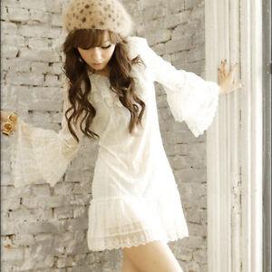 Long Sleeve Mini Dress on Lovely White Fairy Long Sleeve Layer Lace Frilled Long Top Mini Dress