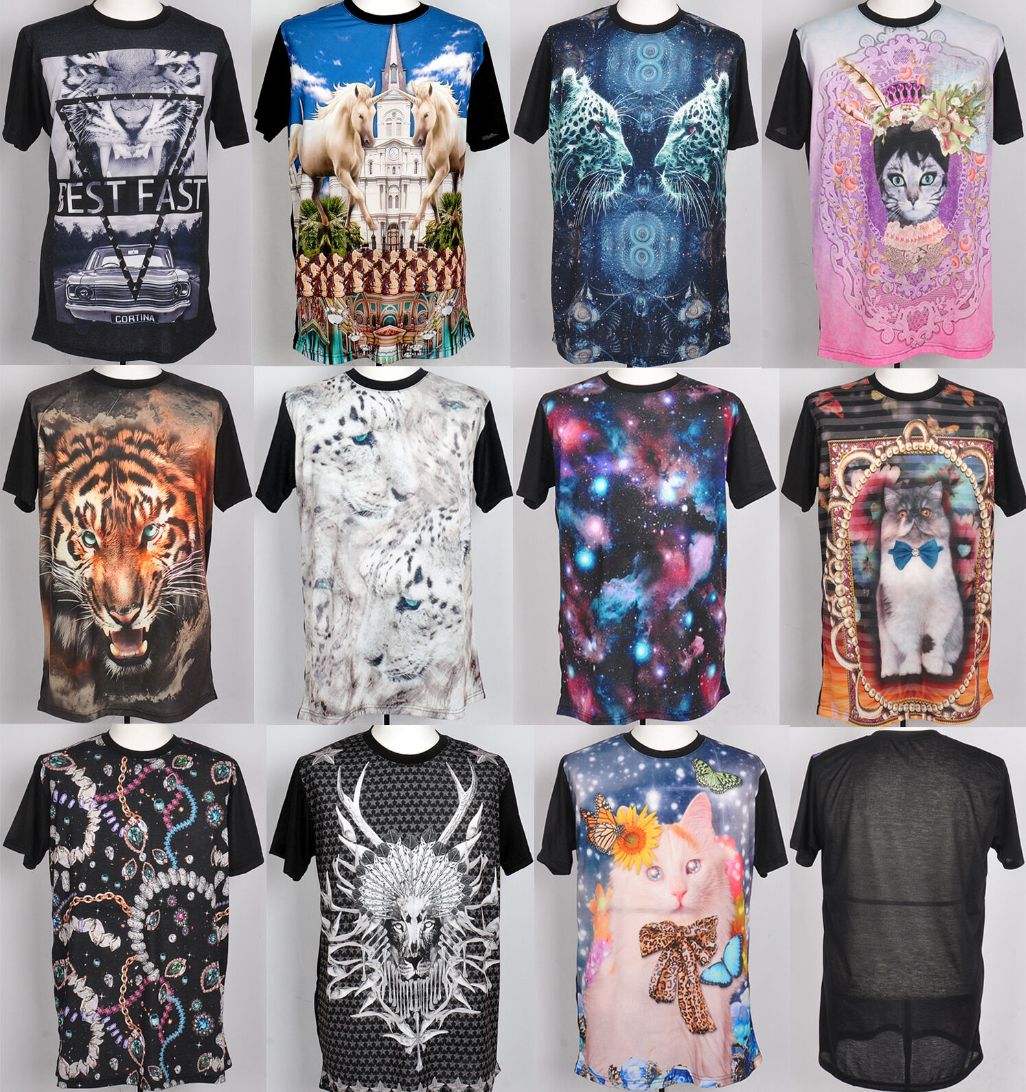 Unisex galaxy stellar cat printed short sleeve t-shirts round neck top tee sz M