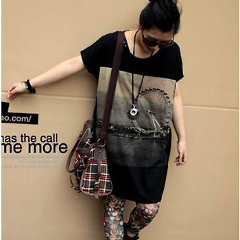 Korean Fashion Women Black Prints Loose long T shirt Dress Tops Personalized Tee