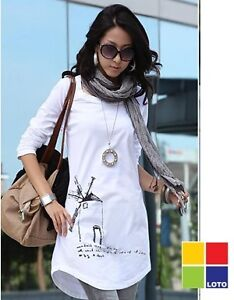 Long Sleeve Sequin Mini Dress on Pattern Tee Shirt Mini Dress Causal Long Sleeve White Uk   Ebay