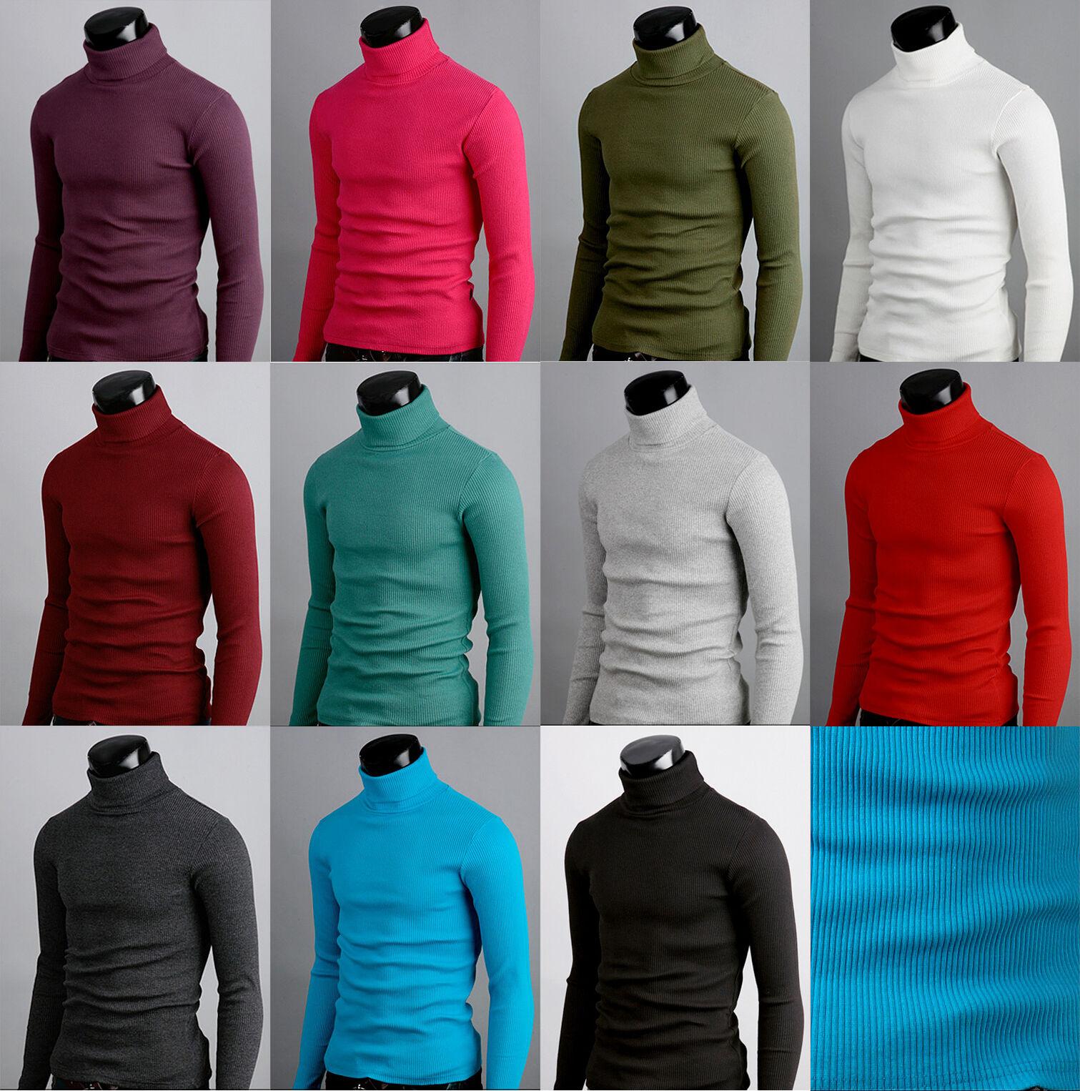 Korean fashion Mens Turtleneck sweatershirts stretch Cotton polo neck jumper
