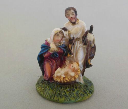Familie ca Polystone bemalt 4,5 cm hoch Krippenblock  Hl Klosterarbeiten