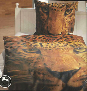 kronborg linon bettw sche leopard 100 baumwolle m rei verschlu 135 x 200 cm ebay. Black Bedroom Furniture Sets. Home Design Ideas