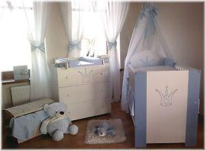 Kroneblau-komplett-Set-Babybett-Kinderbett-Wickelkommode-Babyzimmer-Baby-Bett