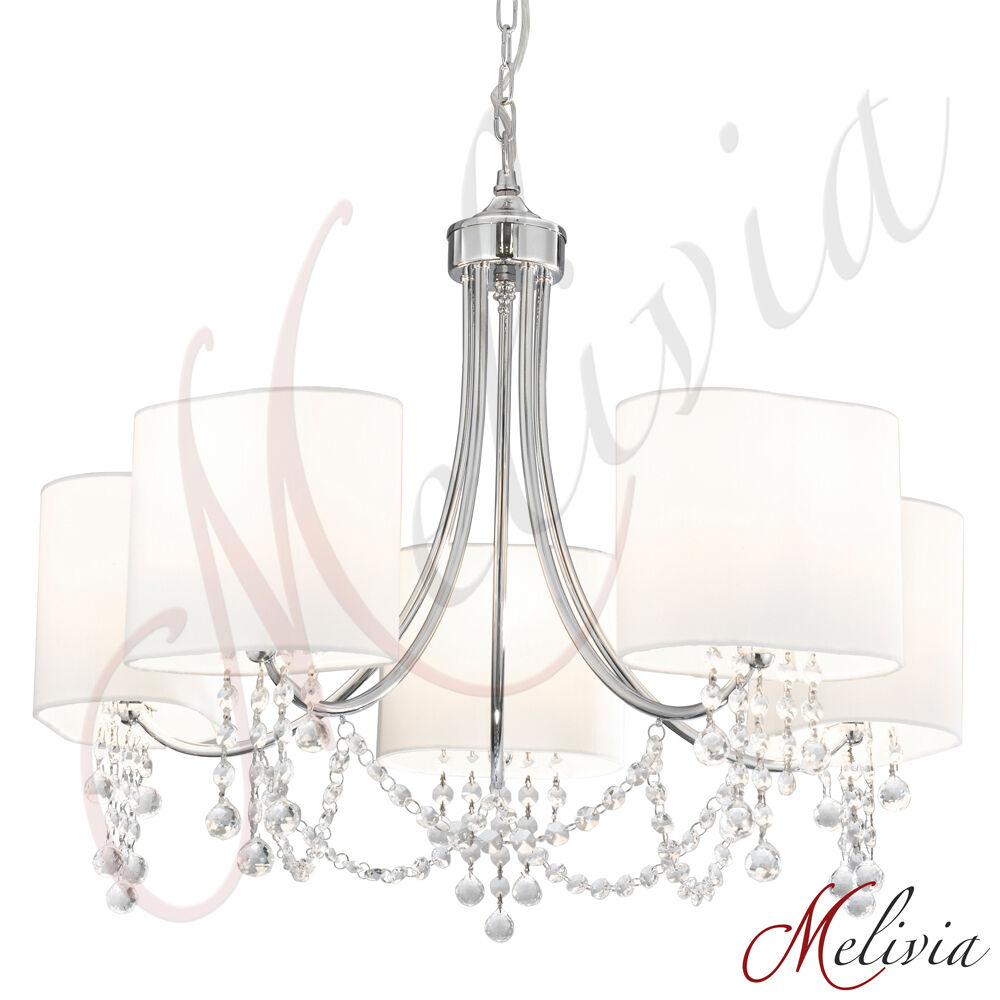 kronleuchter wandlampe kristall stoff weiss pendelleuchte. Black Bedroom Furniture Sets. Home Design Ideas