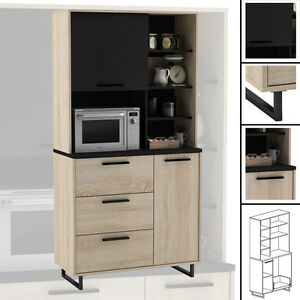 k chenschrank 933 eiche schwarz schrank buffetschrank k chenm bel holz k che ebay. Black Bedroom Furniture Sets. Home Design Ideas