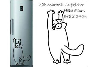 k hlschrank aufkleber wandtattoo folie katze simon s cat ebay. Black Bedroom Furniture Sets. Home Design Ideas