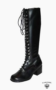 Kult-vintage-Style-Stiefel-Blockabsatz-Gothic-80er-90er-schwarz-Schnuerstiefel
