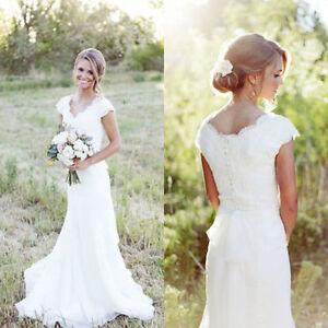 Kurzarm-Spitze-weiss-Elfenbein-Hochzeitskleid-Brautkleider-Groesse-32 ...