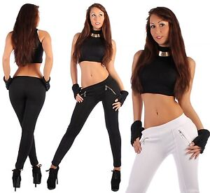 L2-Damenjeans-Treggings-Jeggings-Leggings-Hose-Schwarz-Leggins-Roehrenhose-Slim