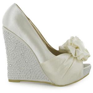 Ivory Wedge Wedding Shoes On Ladies Ivory Satin Diamante Peeptoe Wedge  Heels Womens Bridal Shoes