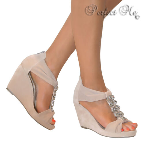 LADIES NUDE JEWELLED GLITTER STRAPPY WEDGE T BAR SANDALS GLADIATOR SHOES HEELS