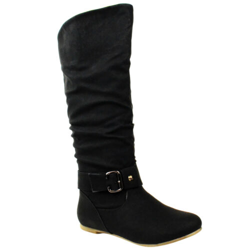 LADIES WOMENS FLAT WIDE LEG FUR LINED KNEE CALF HIGH RIDING BOOTS SHOES SIZE
