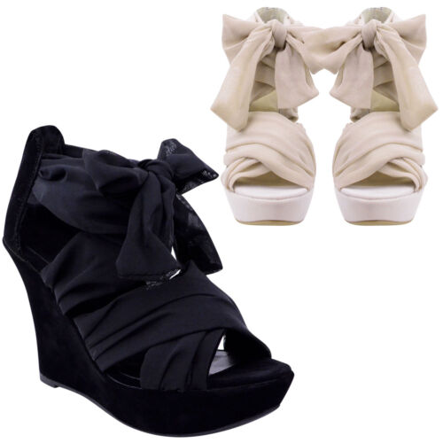 LADIES WOMENS WRAP OVER ANKLE STRAP SUMMER SANDALS HIGH HEELS WEDGES SHOES SIZE