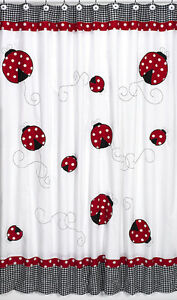 Ladybug Red Black White Polka Dot Bath Fabric Shower Curtain Sweet ...