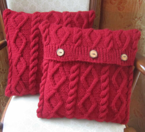 LAMINATED GORGEOUS ARAN STYLE KNITTED CUSHION COVER IN ...
