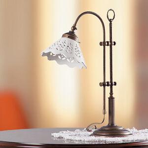 Lampada da tavolo lume ottone ceramica classico rustico for Lampada salotto