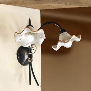 Lampada parete applique ceramica classico rustico country ferro battuto taverna ebay - Applique da parete in ferro battuto ...