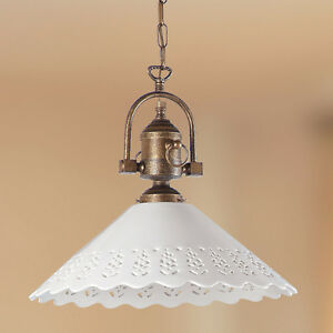 lampadari ottone : LAMPADARIO SOSPENSIONE OTTONE CERAMICA CLASSICO RUSTICO COUNTRY CUCINA ...