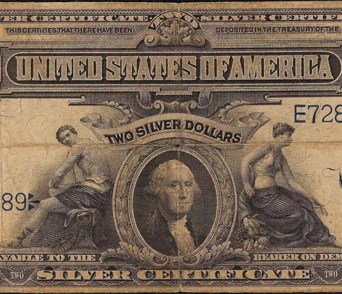 LARGE 1899 $2 TWO DOLLAR BILL SILVER CERTIFICATE NOTE Fr 253 MINI PORTHOLE PCGS in Coins & Paper Money, Paper Money: US, Large Size Notes | eBay
