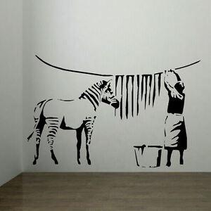 large banksy zebra stripes laundry room wall art sticker