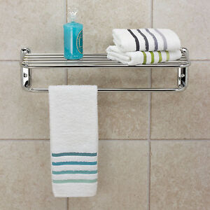 large bathroom chrome wall mounted towel rail storage